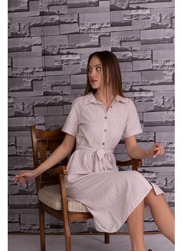 Stamina  Bayan Önü Düğmeli Kısa Kol Bağcıklı Uzun Elbise-5KTE1 Bej